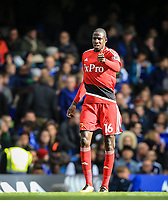 Abdoulaye Doucoure of Watford gives a thumb up after scoring his goal during the Premier League match between Chelsea and Watford at Stamford Bridge, London, England on 21 October 2017. Photo by Andy Rowland.