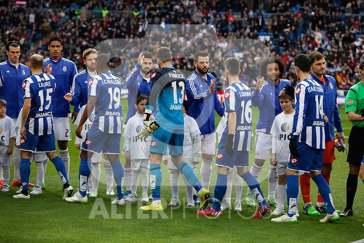 Real Madrid´s players greet Deportivo de la Courna´s players during La Liga match at Santiago Bernabeu stadium in Madrid, Spain. February 14, 2015. (ALTERPHOTOS/Victor Blanco)