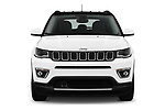 Car photography straight front view of a 2017 Jeep Compass Limited 5 Door SUV