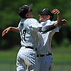 Brendan Haas #25, Wantagh pitcher, right, and shortstop #17 Anthony D'Onofrio celebrate after their team's 4-2 win over Shoreham-Wading River in the Class A varsity baseball Long Island Championship at SUNY Old Westbury on Saturday, June 3, 2017.