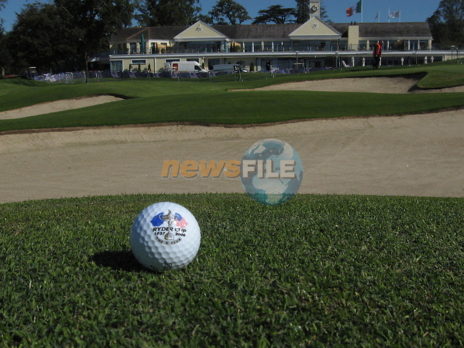 Final preparations are made for 2006 Ryder cup at the K Club in Straffin Co Kildare. A ryder cup golf ball sits at the approach to the 18 green..Photo: Fran Caffrey/ Newsfile.<br />