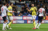 Bolton Wanderers' Derrick Williams celebrates victory at the final whistle<br /> <br /> Photographer Andrew Kearns/CameraSport<br /> <br /> The EFL Sky Bet Championship - Bolton Wanderers v Blackburn Rovers - Saturday 6th October 2018 - University of Bolton Stadium - Bolton<br /> <br /> World Copyright © 2018 CameraSport. All rights reserved. 43 Linden Ave. Countesthorpe. Leicester. England. LE8 5PG - Tel: +44 (0) 116 277 4147 - admin@camerasport.com - www.camerasport.com