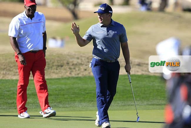 Daniel Summerhays (USA) sinks his putt on the 18th green during Saturday's Round 3 of the 2017 CareerBuilder Challenge held at PGA West, La Quinta, Palm Springs, California, USA.<br /> 21st January 2017.<br /> Picture: Eoin Clarke | Golffile<br /> <br /> <br /> All photos usage must carry mandatory copyright credit (&copy; Golffile | Eoin Clarke)