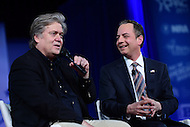 National Harbor, MD - February 23, 2017: White House Chief of Staff Reince Priebus and Steve Bannon, president Trump's chief strategist, participate in a discussion during the Conservative Political Action Conference at the Gaylord Hotel in National Harbor, MD, February 23, 2017,   (Photo by Don Baxter/Media Images International)