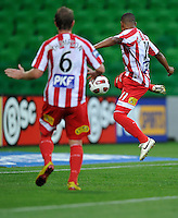 MELBOURNE, AUSTRALIA - JANUARY 09: Alex Terra of the Heart kicks a goal during the round 23 A-League match between the Melbourne Heart and Gold Coast United at AAMI Park on January 19, 2011 in Melbourne, Australia. (Photo by Sydney Low / Asterisk Images)