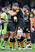 High Wycombe, England. Wasps celebrate there win after  the Aviva Premiership match between Wasps and Northampton Saints at Adams Park on September 14, 2014 in High Wycombe, England.