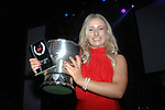 Jacqueline Brunton, Leixlip Musical and Variety Group who won the Best Comedienne / Gilbert Section for for her role as Elle in 'Legally Blonde' celebrates after her victory at the Association of Irish Musical Societies (AIMS) annual awards in the INEC, Killarney at the weekend. Leiclip also won Best Overall Show.<br /> Photo Don MacMonagle<br /> <br /> repro free photo AIMS<br /> Further info: Kate Furlong PRO kate.furlong84@gmail.com