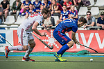 GER - Mannheim, Germany, April 15: During the field hockey 1. Bundesliga match between Mannheimer HC (blue) and Rot-Weiss Koeln (white) on April 15, 2018 at Am Neckarkanal in Mannheim, Germany. Final score 2-2. (Photo by Dirk Markgraf / www.265-images.com) *** Local caption ***