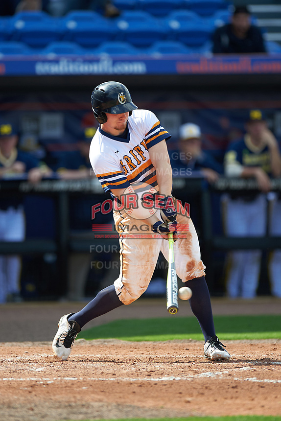 Canisius College Golden Griffins first baseman Ryan Stekl (15) at bat during the second game of a doubleheader against the Michigan Wolverines on February 20, 2016 at Tradition Field in St. Lucie, Florida.  Michigan defeated Canisius 3-0.  (Mike Janes/Four Seam Images)