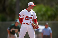 Illinois State Redbirds starting pitcher Jeff Lindgren (21) looks in for the sign during a game against the Michigan State Spartans on March 8, 2016 at North Charlotte Regional Park in Port Charlotte, Florida.  Michigan State defeated Illinois State 15-0.  (Mike Janes/Four Seam Images)