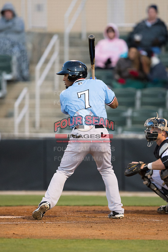 Andy Ibanez (7) of the Hickory Crawdads at bat against the Kannapolis Intimidators at Kannapolis Intimidators Stadium on April 9, 2016 in Kannapolis, North Carolina.  The Crawdads defeated the Intimidators 6-1 in 10 innings.  (Brian Westerholt/Four Seam Images)