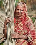 Anna Khatun dries jute in the sun in West Fasura, a village on an island in the Brahmaputra River in northern Bangladesh.