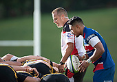 Siaosi Nginingini watches as Referee Nigel Bradley calls for the forwards to engage at a scrum. Counties Manukau Premier 1 McNamara Cup Final between Ardmore Marist and Bombay, played at Navigation Homes Stadium on Saturday July 20th 2019.<br />  Bombay won the McNamara Cup for the 5th time in 6 years, 33 - 18 after leading 14 - 10 at halftime.<br /> Photo by Richard Spranger.