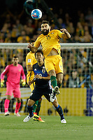 October 11, 2016: MILE JEDINAK (15) of Australia heads the ball during a 3rd round Group B World Cup 2018 qualification match between Australia and Japan at the Docklands Stadium in Melbourne, Australia. Photo Sydney Low Please visit zumapress.com for editorial licensing. *This image is NOT FOR SALE via this web site.