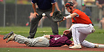Belleville West's Colin Shea dives safely back to first base as Edwardsville first baseman Drake Westcott waits on the ball. Edwardsville defeated Belleville West in a semifinal of the Class 4A Bloomington boys baseball sectional which was played in O'Fallon, IL on Wednesday May 29, 2019.<br /> Tim Vizer/Special to STLhighschoolsports.com