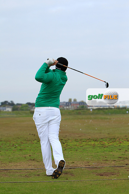 Colm Campbell Jnr. (Warrenpoint) on the driving range warming up before Round 4 of the Flogas Irish Amateur Open Championship at Royal Dublin on Sunday 8th May 2016.<br /> Picture:  Thos Caffrey / www.golffile.ie