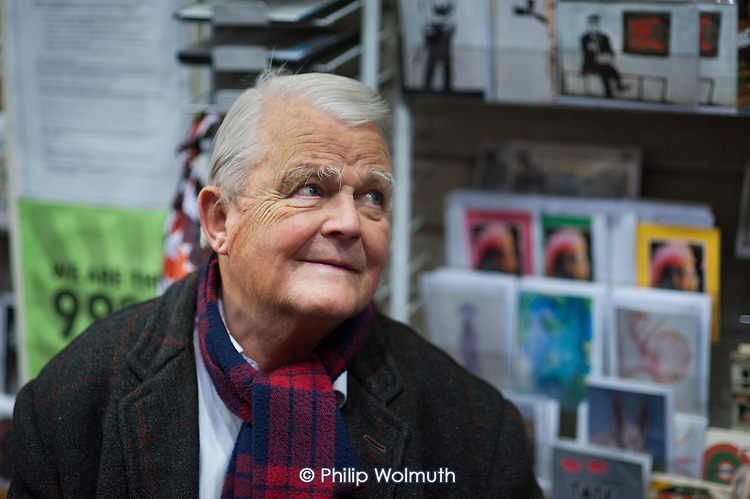 Bruce Kent, Vice Chair of the Campaign for Nuclear Disarmament, at the launch of a book marking 10 years of the Stop the War Coalition, Housmans Bookshop, London.