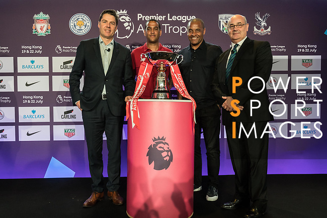 From Left to right: Richard Masters, Phil Babb, Mark Bright, and Mark Sutcliffe pose for photo in front of the Premier League Asia Trophy during the press conference for the Premier League Asia Trophy 2017 at the Grand Hyatt Hong Kong on 01 June 2017 in Hong Kong, China. Photo by Chris Wong / Power Sport Images