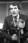 Simon Hughes Bermondsey by-election 1983. He has just won and is making his acceptance speech for the Liberal Party. South London 1980s UK ..