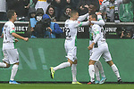 06.10.2019, Borussia-Park - Stadion, Moenchengladbach, GER, DFL, 1. BL, Borussia Moenchengladbach vs. FC Augsburg, DFL regulations prohibit any use of photographs as image sequences and/or quasi-video<br /> <br /> im Bild Denis Zakaria (#8, Borussia Moenchengladbach) jubelt nach seinem Tor zum 1:0 mit seiner Mannschaft<br /> <br /> Foto © nordphoto/Mauelshagen
