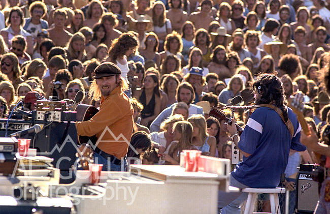 Third annual Mountain Aire Renaissance Fair and Musical Festival produced by Rock'n Chair Productions.  On stage are Seals and Crofts on June 13, 1976 at the Calaveras County Fairground near Angle Camp California.  Photo by Al Golub