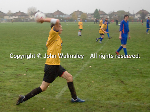 A throw in during a football match against another local College.  Further Education College.