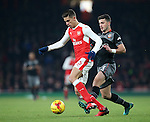 Arsenal's Gabriel tussles with Southampton's Shane Long during the EFL Cup match at the Emirates Stadium, London. Picture date October 30th, 2016 Pic David Klein/Sportimage