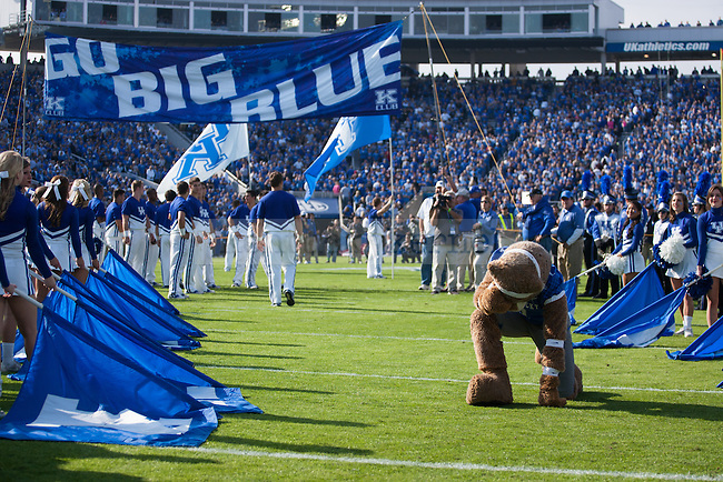 The Wildcat drops to the ground in a Tim Tebow-esque pose before the first half of the Kentucky Wildcats game against the Mississippi State Bulldogs at Commonwealth Stadium on Saturday, October 25, 2014 in Lexington, Ky. Mississippi leads Kentucky 17-10. Photo by Adam Pennavaria | Staff