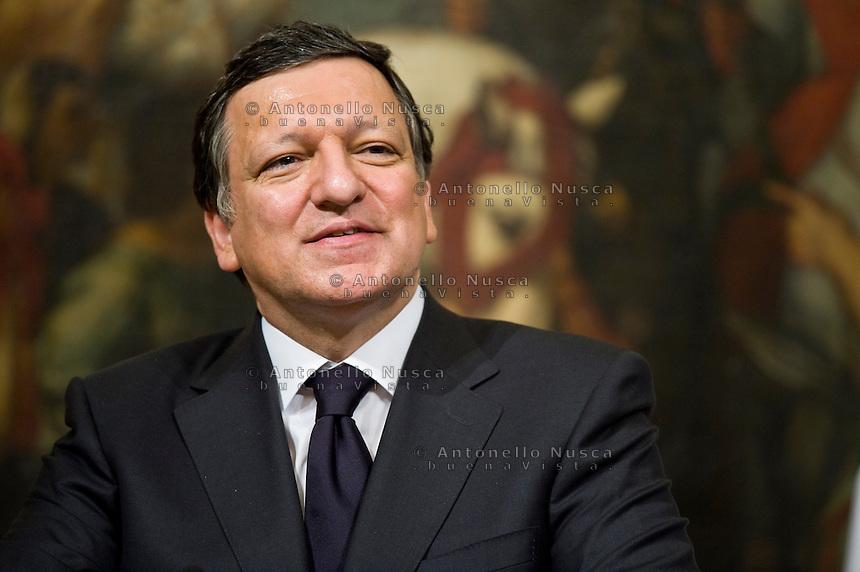 Roma, 21 Maggio, 2010. Manuel Barroso incontra Silvio Berlusconi a Palazzo Chigi. President of the EU_Commission during a press conference.