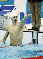 05.08.2012.  London, ENGLAND; Sun Yang of China celebrates after winning the Men's 1500m Freestyle Final on Day 8 of the London 2012 Olympic Games at the Aquatics Centre. Sun recorded a World Record time for the event with a time of 14:31.02.