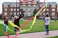 Kite flying on Drill Field: student Kara Nichols.<br />  (photo by Megan Bean / &copy; Mississippi State University)