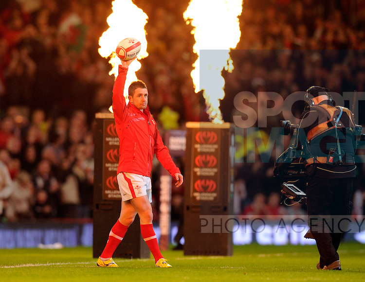 Shane Williams of Wales walks out for the last time in a Welsh international