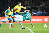 27th March 2018, Olympiastadion, Berlin, Germany; International Football Friendly, Germany versus Brazil; Sandro Waagner (Germany) hits the deck in contact with Thiago Silva (Brazil)