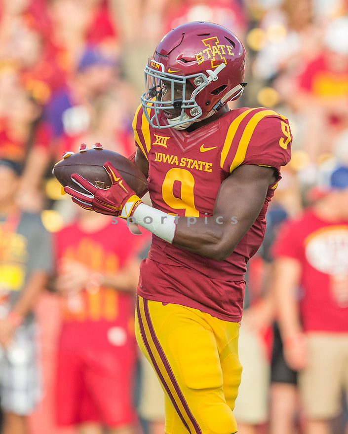 Iowa State Cyclones Quenton Bundrage (9) during a game against the Northern Iowa Panthers on September 5, 2015 at Jack Trice Stadium in Ames, Iowa. Iowa State beat Northern Iowa 31-7.