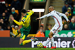 David McGoldrick of Sheffield United shoots during the Premier League match at Carrow Road, Norwich. Picture date: 8th December 2019. Picture credit should read: James Wilson/Sportimage