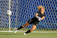 27 August 2011:  FIU's Kelley Struyf (0) dives for a ball in pre-game warm-ups.  The FIU Golden Panthers defeated the University of Arkon Zips, 1-0, at University Park Stadium in Miami, Florida.
