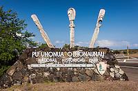 Pu'uhonua o Honaunau place of refuge national historical park entrance sign, Big Island, Hawaii