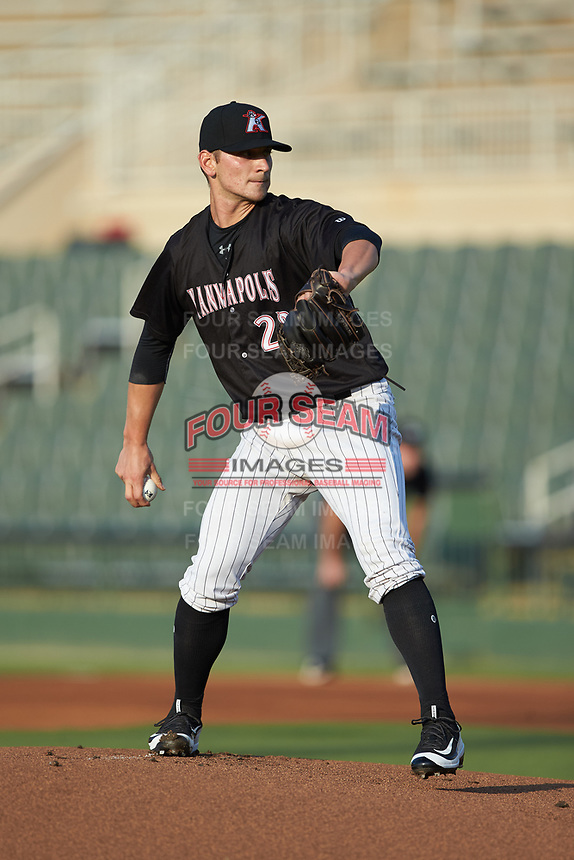 Kannapolis Intimidators starting pitcher Zach Lewis (28) in action against the Hagerstown Suns at Kannapolis Intimidators Stadium on July 16, 2018 in Kannapolis, North Carolina. The Intimidators defeated the Suns 7-6. (Brian Westerholt/Four Seam Images)