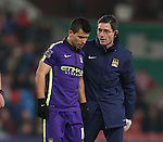 Sergio Aguero of Manchester City is substituted with an injury - Barclays Premier League - Stoke City vs Manchester City - Britannia Stadium - Stoke on Trent - England - 11th February 2015 - Picture Simon Bellis/Sportimage
