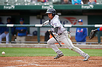Cedar Rapids Kernels Gabriel Maciel (19) bunts during a Midwest League game against the South Bend Cubs at Four Winds Field on May 8, 2019 in South Bend, Indiana. South Bend defeated Cedar Rapids 2-1. (Zachary Lucy/Four Seam Images)