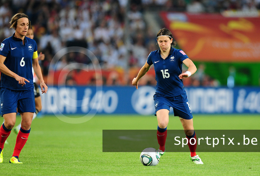 Fifa Women's World Cup Germany 2011 : France - Germany ( Frankrijk - Duitsland ) at Munchengladbach World Cup stadium : Elise BUSSAGLIA.foto DAVID CATRY / Vrouwenteam.be