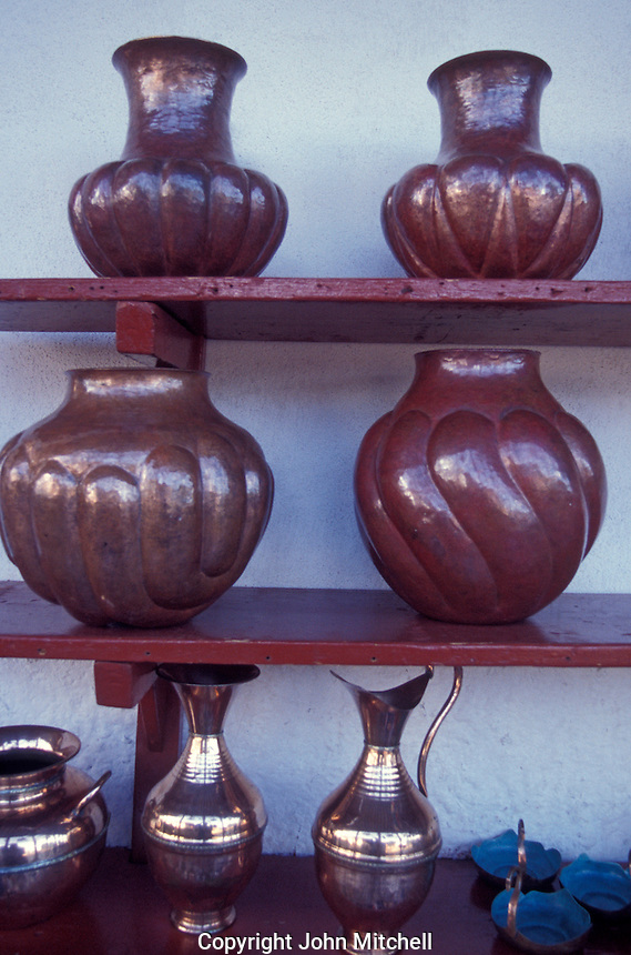 Copper vases and pitchers for sale in the village of Santa Clara del Cobre near Lake Patzcuaro, Michoacan, Mexico