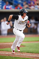 Quad Cities River Bandits right fielder Myles Straw (4) runs to first base during a game against the Bowling Green Hot Rods on July 24, 2016 at Modern Woodmen Park in Davenport, Iowa.  Quad Cities defeated Bowling Green 6-5.  (Mike Janes/Four Seam Images)