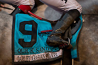 ARCADIA, CA  APRIL 7:  Winning saddle towel of #9 Quick Sand AA, ridden by Sasha Risenhoover, in the HH Sheikha Fatima Bint Mubarak (Grade l) on April 7, 2018 at Santa Anita Park in Arcadia, CA.  (Photo by Casey Phillips/ Eclipse Sportswire/ Getty Images)