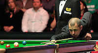 Barry Hawkins on his way to winning the first frame during the Dafabet Masters FINAL between Barry Hawkins and Ronnie O'Sullivan at Alexandra Palace, London, England on 17 January 2016. Photo by Liam Smith / PRiME Media Images