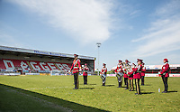 A Band play pre match during the 'Greatest Show on Turf' Celebrity Event - Once in a Blue Moon Events at the London Borough of Barking and Dagenham Stadium, London, England on 8 May 2016. Photo by Andy Rowland.