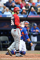 Washington Nationals outfielder Bryce Harper (34) during a spring training game against the New York Mets on March 27, 2014 at Tradition Field in St. Lucie, Florida.  Washington defeated New York 4-0.  (Mike Janes/Four Seam Images)