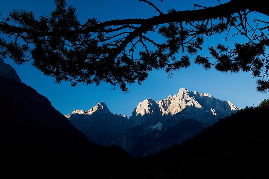Mount Prisojnik and Mount Razor, view from Kranjska Gora<br /> Julian Alps<br /> Triglav National Park, Slovenia<br /> July 2009