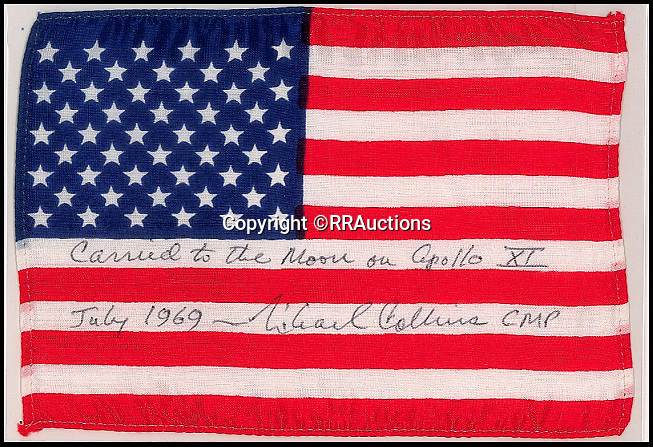 BNPS.co.uk (01202 558833)<br /> Pic :  RRAuctions/BNPS<br /> <br /> American flag carried into lunar orbit during the Apollo 11 mission, estimated £48,000.<br /> <br /> One small step-by-step for man...<br /> <br /> Fascinating step-by-step plan of the historic first moon landing reveals NASA's meticulous planning. <br /> <br /> A collection of rare artefacts from the Apollo 11 mission are being sold on the 50th anniversary of the historic moon landings.<br /> <br /> The sale also includes an American flag carried to the moon, Neil Armstrong's toy plane that first inspired him to fly, along with his Robbins medal and the visitors book from Airforce One with comments from the astronauts and their wives.<br /> <br /> The items are going under the hammer with US based RR Auctions who expect them to fetch over £127,000. ($160,000)