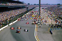 INDIANAPOLIS, IN - MAY 26: The starting field pulls away to begin the parade laps prior to the Indianapolis 500 at the Indianapolis Motor Speedway in Indianapolis, Indiana, on May 26, 1985..